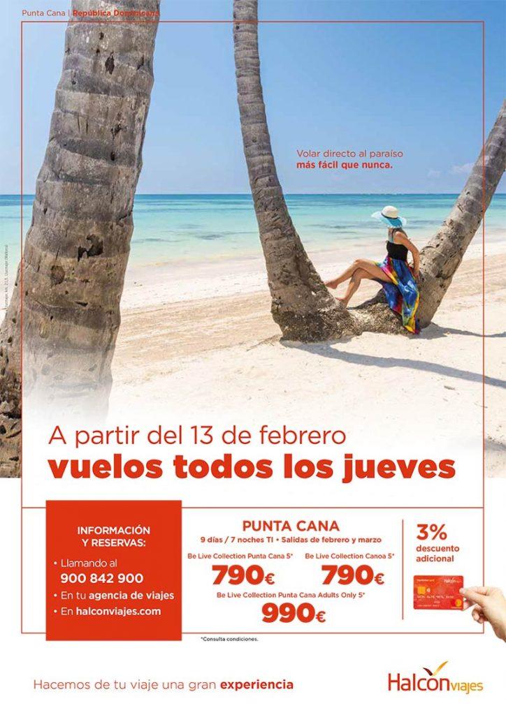 Cartel de Halcón Viajes para Punta Cana